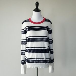 Equipment navy and white lightweight sweater